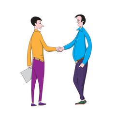 Cartoon men make a business deal and shake hands vector