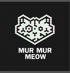 cat logo glitch logotype test screen glitch text vector image