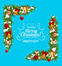 Christmas garland frame corner of xmas gift bell vector