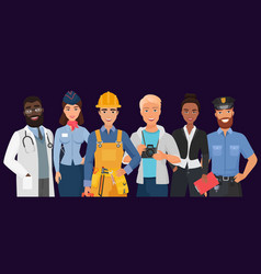 collection men and women people workers vector image