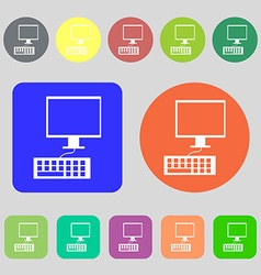 Computer monitor and keyboard Icon 12 colored vector image