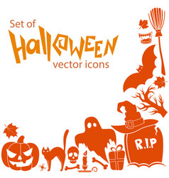 corner frame of halloween icons vector image