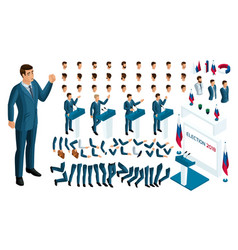 create your isometric character 3d man vector image
