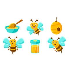 Cute funny bees beehive honey in jar organic vector