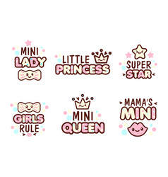 cute kawaii emoticons with baby girl objects vector image