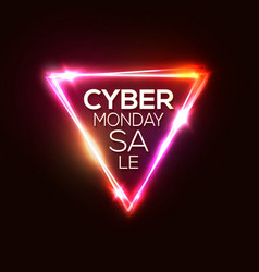 Cyber monday neon sign triangle point of sale vector