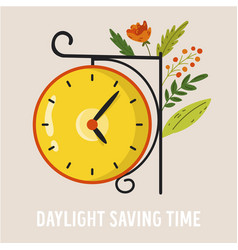 Daylight saving time abstract design with clock vector