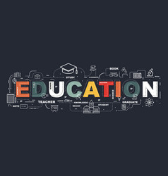 Design concept of word education website banner vector