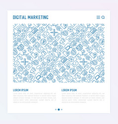 digital marketing concept with thin line icons vector image