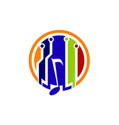digital music logo design template vector image