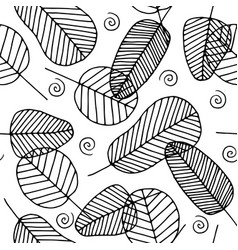 Doodle seamless pattern with leaves vector