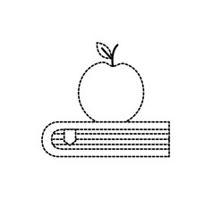 Dotted shape apple fruit over close book vector