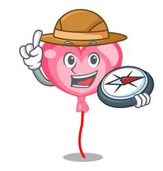 explorer ballon heart mascot cartoon vector image