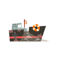 Fishing trawler for industrial seafood production vector
