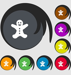 Gingerbread man icon sign Symbols on eight colored vector