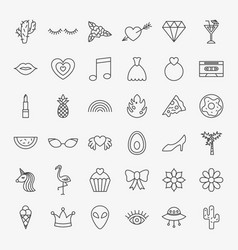 girl fashion line icons set vector image