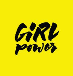 girl power lettering calligraphic written phrase vector image