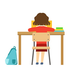 Girl reading the book sitting at the desk in vector
