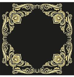 Gold frame pattern black background vector