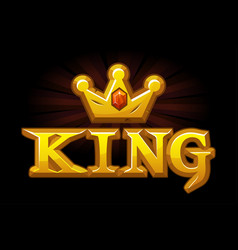 Gold king crown with diamond and logo vector