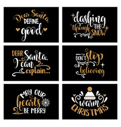 Hand lettering christmas card collection with vector