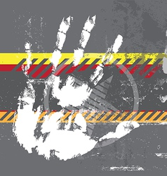 hand print on grungy background vector image