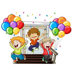 happy boys and colorful balloons at home vector image