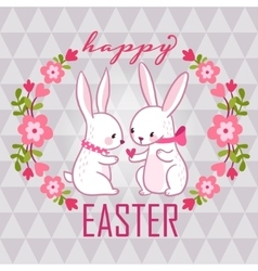 Happy easter card with bunnies vector image