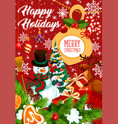 happy holidays snowman greeting card vector image