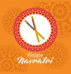 Happy navratri celebration with sticks in mandala vector
