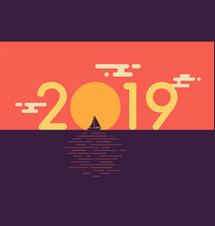 happy new year 2019 text design with sailboat and vector image