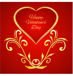 happy valentine day heart with gold ornaments vector image