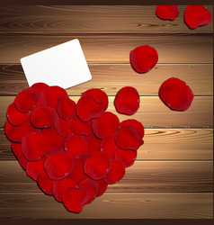 Heart of Red Rose Petals vector image