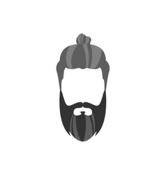Hipster Male Hair and Facial Style With Long vector