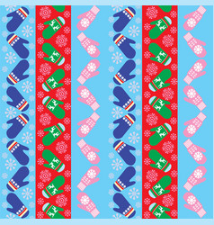 Holiday background design with knitted mittens vector