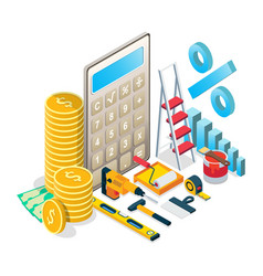 home repairs budget concept isometric vector image