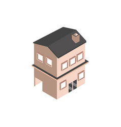 house with garage and chimney building isometric vector image