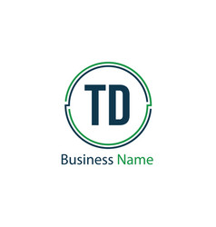initial letter td logo template design vector image