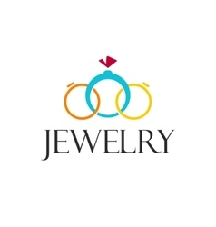 Jewelry rings logo template isolated on vector