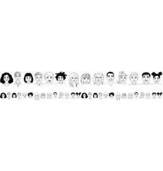 Kids diversity head portraits line drawing doodle vector