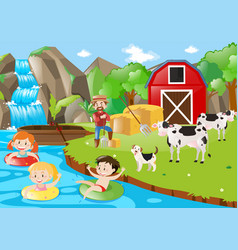 Kids playing in the river by the farm vector