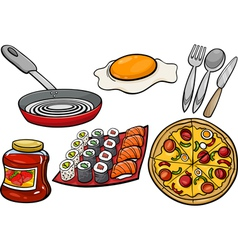 kitchen and food objects cartoon set vector image