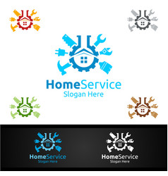 Lab real estate and fix home repair services logo vector