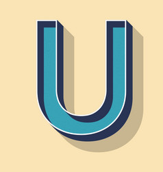 letter u retro text style fonts concept vector image