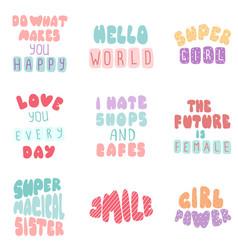 Lettering typography girl overlay set vector