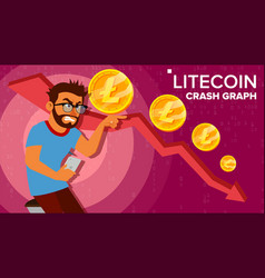 Litecoin crash graph surprised investor vector