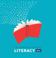 Literacy day card concept flying book alphabet vector