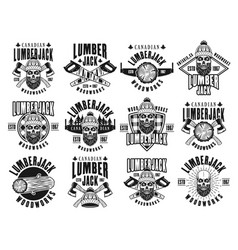 lumberjack and woodworks vintage emblems vector image