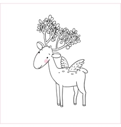 Magic Deer with wings vector