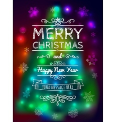 Merry Christmas card on blurred background vector